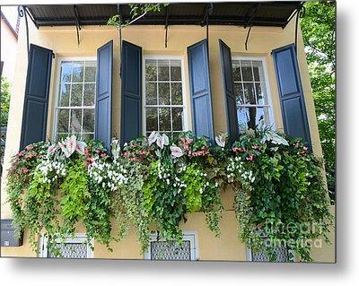 Charleston Window Box Flower Photography - Charleston Yellow Blue Green Floral Window Boxes Metal Print