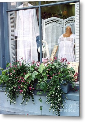 Charleston Window Boxes - Charleston Flowers Window Box And Lingerie Shop  Metal Print by Kathy Fornal