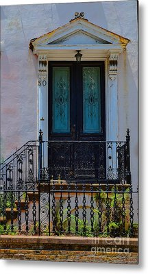 Charleston Wood Door Etched Glass Metal Print