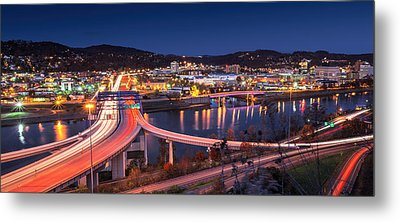 Charleston Wv At Night Metal Print by Mary Almond