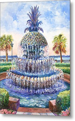 Charleston's Pineapple Fountain Metal Print by Alice Grimsley