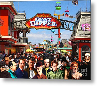 Charlie And Friends Cannot Decide Between The Giant Dipper The Sky Gliders Or The Side Shows V2 Metal Print