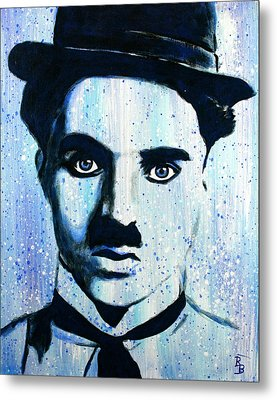 Metal Print featuring the painting Charlie Chaplin Little Tramp Portrait by Bob Baker