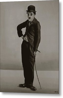 Charlie Chaplin Painting Metal Print by Paul Meijering