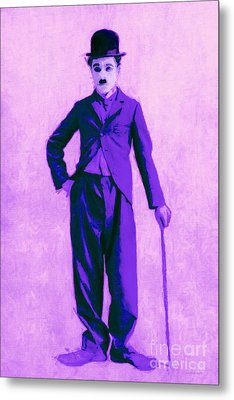 Charlie Chaplin The Tramp 20130216m40 Metal Print by Wingsdomain Art and Photography