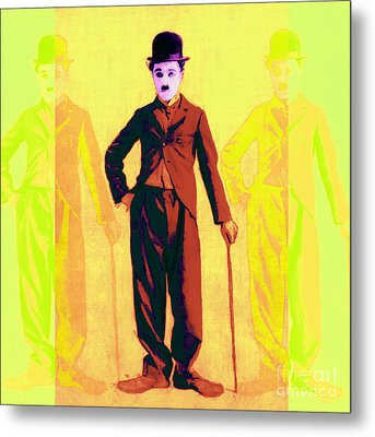 Charlie Chaplin The Tramp Three 20130216p30 Metal Print by Wingsdomain Art and Photography