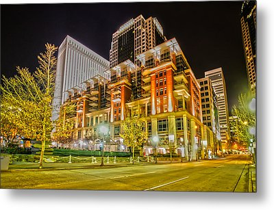 Charlotte City Skyline Night Scene Metal Print