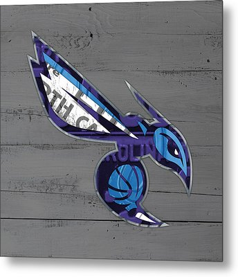 Charlotte Hornets Basketball Team Logo Vintage Recycled North Carolina License Plate Art Metal Print