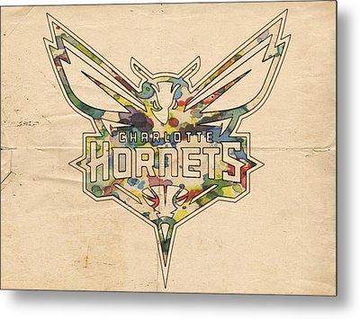 Charlotte Hornets Logo Art Metal Print by Florian Rodarte