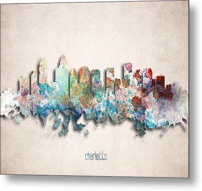 Charlotte Painted City Skyline Metal Print