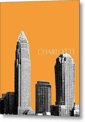 Charlotte Skyline 2 - Orange Metal Print
