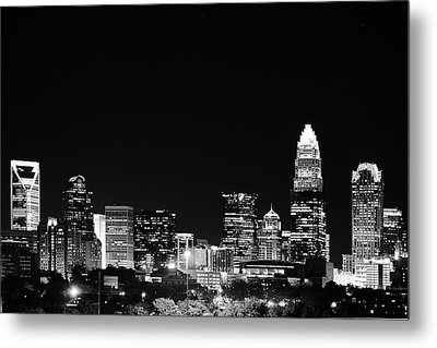 Charlotte Skyline At Night Black And White Metal Print by Fred Koehl
