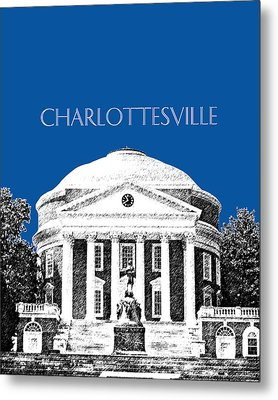 Charlottesville Va Skyline University Of Virginia - Royal Blue Metal Print by DB Artist