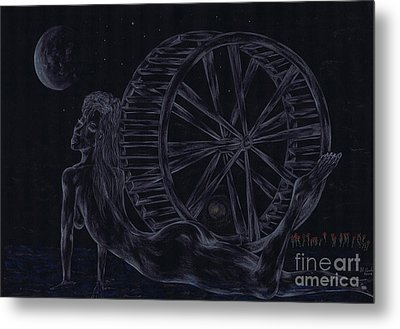 Metal Print featuring the drawing Charm Of The Moon. by Kenneth Clarke