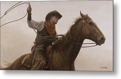 Chasin Em Down Metal Print by Ron Crabb