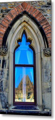 Chateau Laurier - Parlaiment Window - Reflection # 6 Metal Print