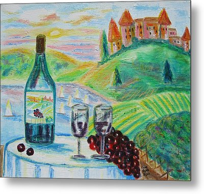 Chateau Wine Metal Print