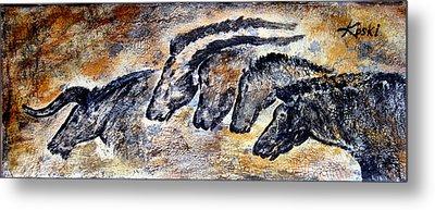 Chauvet Cave Auroch And Horses Metal Print