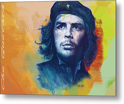 Che Guevara Stylised Modern Drawing Art Sketch Metal Print by Kim Wang