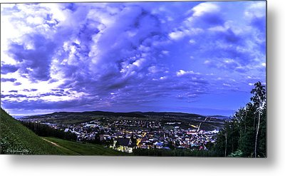 Checiny Town Blue Hour Panorama Metal Print