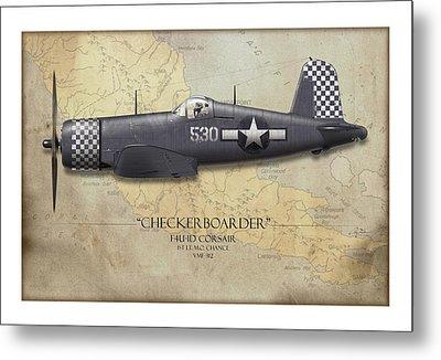 Checkerboarder F4u Corsair - Map Background Metal Print by Craig Tinder