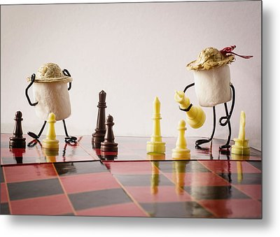 Checkmate Mallow Metal Print by Heather Applegate