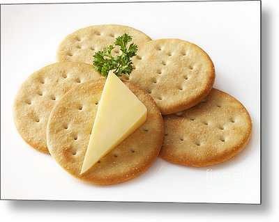 Cheddar Cheese And Crackers Metal Print by Colin and Linda McKie