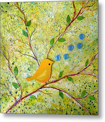 Cheerful Chirpy Singing Yellow Bird Metal Print by Carla Parris