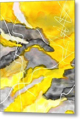 Cheerful Contrast - Yellow And Gray Watercolor Metal Print by Lourry Legarde