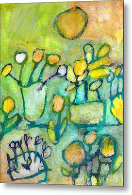 Metal Print featuring the mixed media Cheerful Garden by Catherine Redmayne