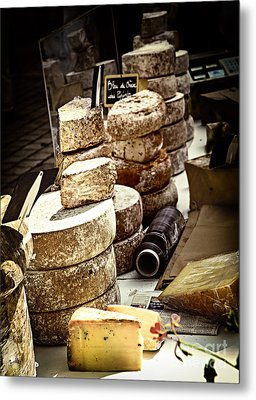Cheeses On The Market In France Metal Print by Elena Elisseeva