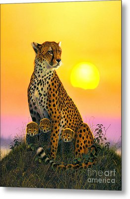 Cheetah And Cubs Metal Print