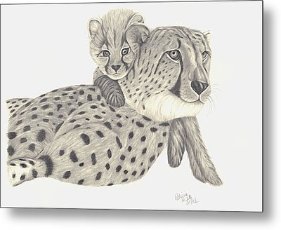 Metal Print featuring the drawing Cheetah And Her Cub 1 by Patricia Hiltz