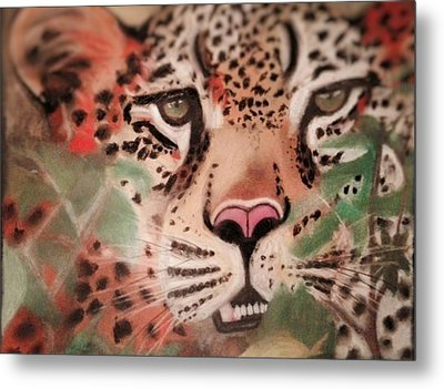 Cheetah In The Grass Metal Print