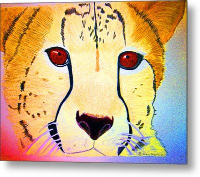 Cheetah With Color Metal Print by Jean Marie Economen
