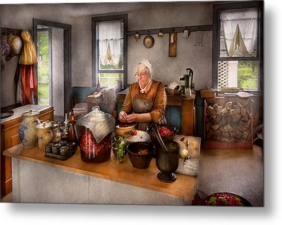 Chef - Kitchen - Cleaning Cherries  Metal Print by Mike Savad