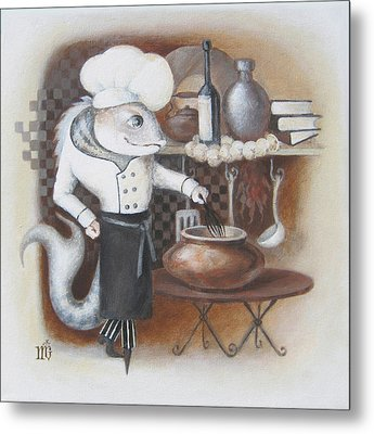 Metal Print featuring the painting Chef by Marina Gnetetsky