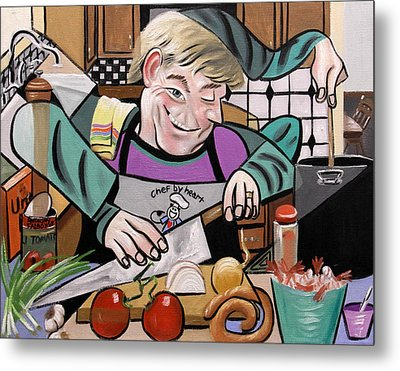 Chef With Heart Metal Print by Anthony Falbo