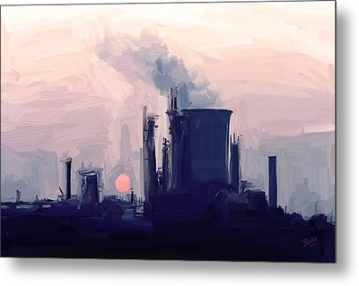 Metal Print featuring the painting Chemical Sunset by Nop Briex