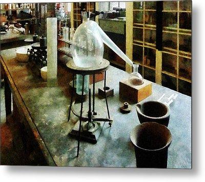 Chemist - Retort In Chem Lab Metal Print