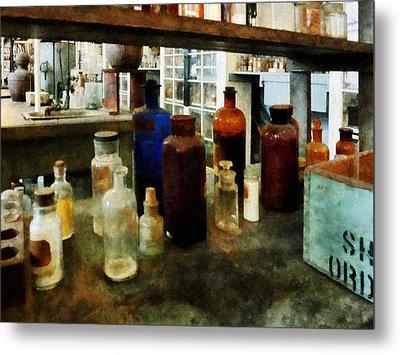 Chemistry - Assorted Chemicals In Bottles Metal Print by Susan Savad
