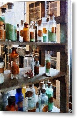 Chemistry - Bottles Of Chemicals Metal Print by Susan Savad