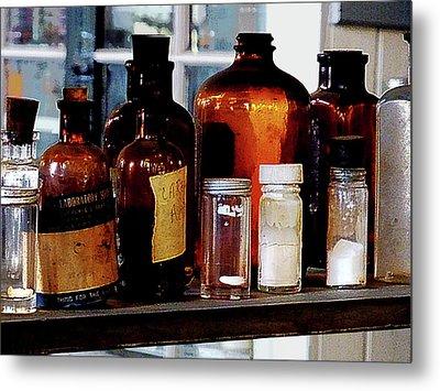 Chemistry - Brown Bottles Metal Print by Susan Savad