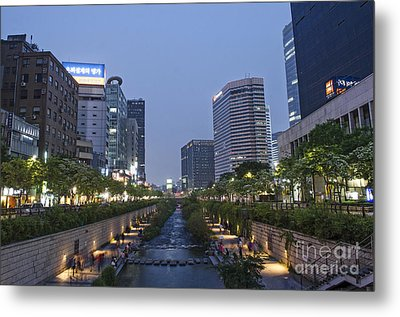 Cheonggyecheon Stream In Seoul South Korea Metal Print