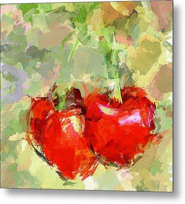Cherries Abstract Metal Print by Yury Malkov