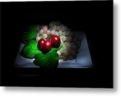 Cherries And Grapes Metal Print