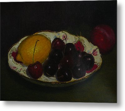 Cherries In A German Dish Metal Print