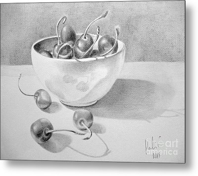 Metal Print featuring the painting Cherries In White Bowl by Eleonora Perlic