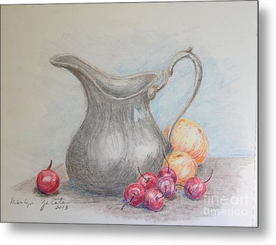 Cherries Still Life Metal Print by Marilyn Zalatan