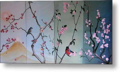 Cherry At The Foot Of Mount Fuji Metal Print by Sorin Apostolescu